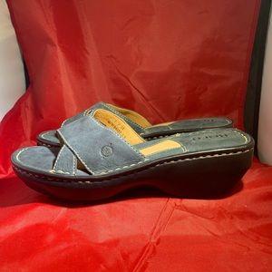 Born Comfort Sandal Blue Leather Sz 8